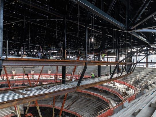 Little Caesars Arena construction, pictured in October