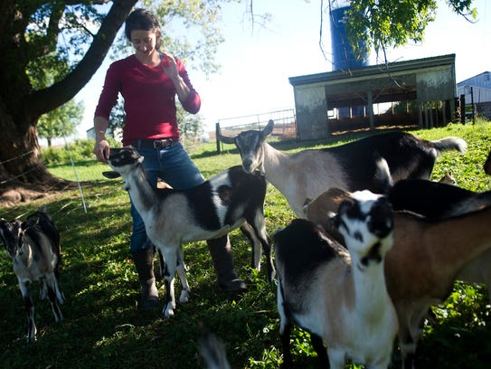 Katie Wiste stands amongst her goats that she raises