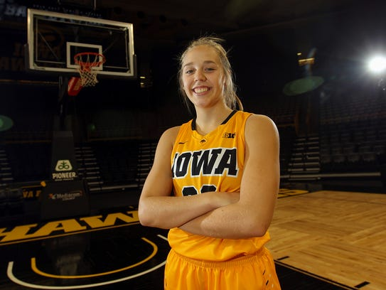 Iowa freshman Kathleen Doyle poses for a photo during