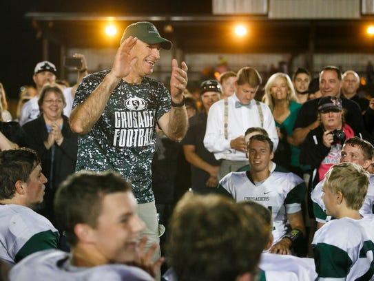 Salem Academy Coach Gary Johnson calls on players to