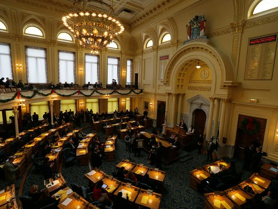 The Assembly in session in Trenton on Monday.