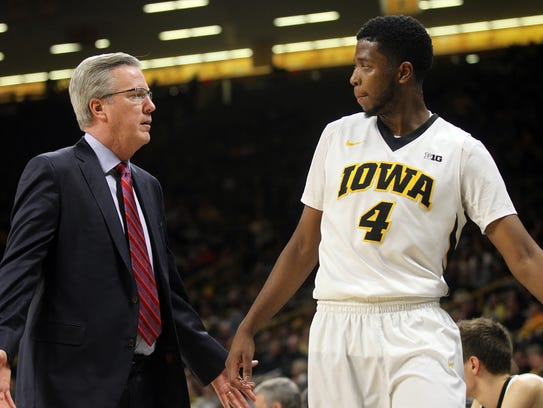 Iowa head coach Fran McCaffery questions Isaiah Moss