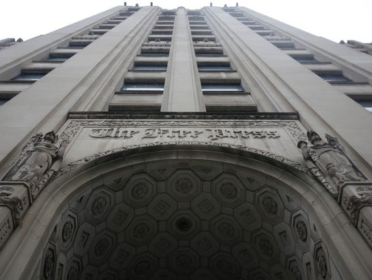 The main entrance of the old Detroit Free Press building