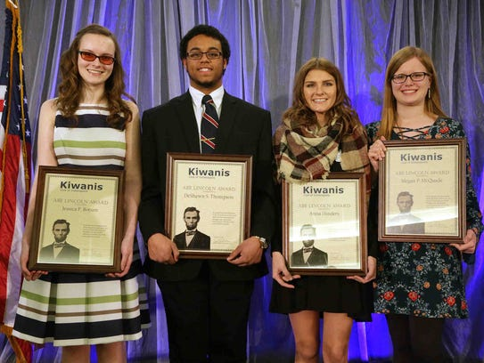 Abe Lincoln Award winners (from left), Jessica Borum,
