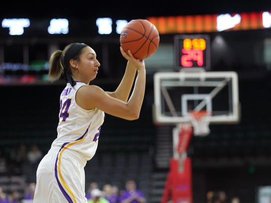 UNI's Mikaela Morgan takes a shot during the Panthers'