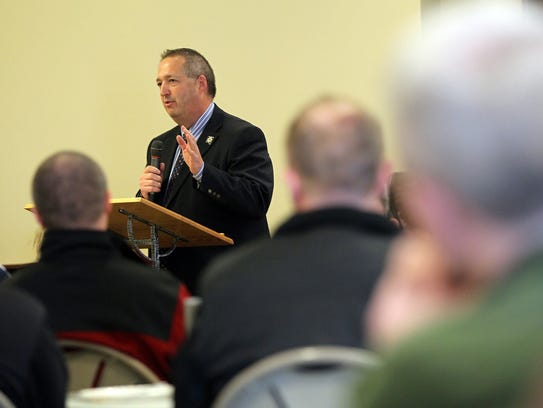 Johnson County Sheriff Lonny Pulkrabek speaks to law