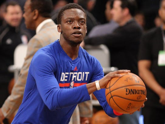 Pistons point guard Reggie Jackson before a game in