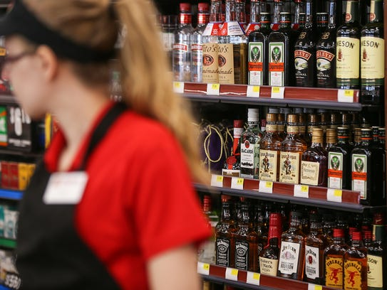 Liquor is kept behind the counter at a Ricker's convenience