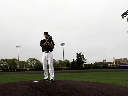 Iowa's Nick Gallagher poses for a photo before practice