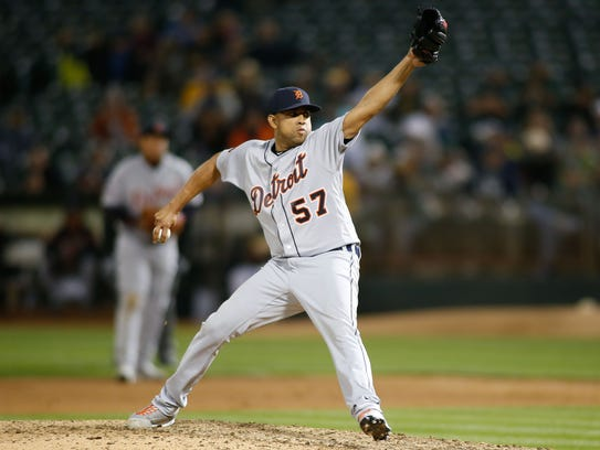 Tigers pitcher Francisco Rodriguez pitches against