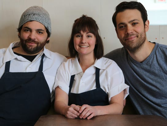Voyager co-executive chefs Justin Tootla, left, Jennifer Jackson and proprietor Eli Boyer are opening Lovers Only, a fast-casual burger concept in Detroit's Capitol Park.