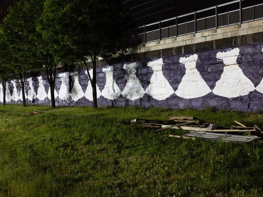 Adrienne Wheeler's dress mural in Newark.