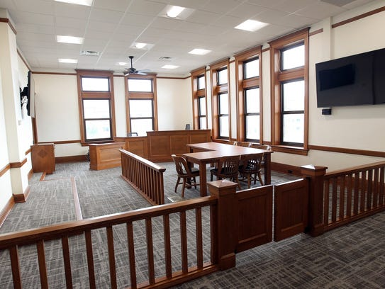 Johnson County Courthouse's recently renovated courtroom