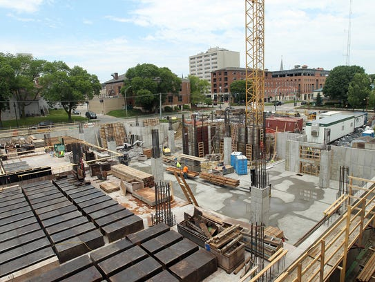 Construction continues outside the Chauncey Swan Parking