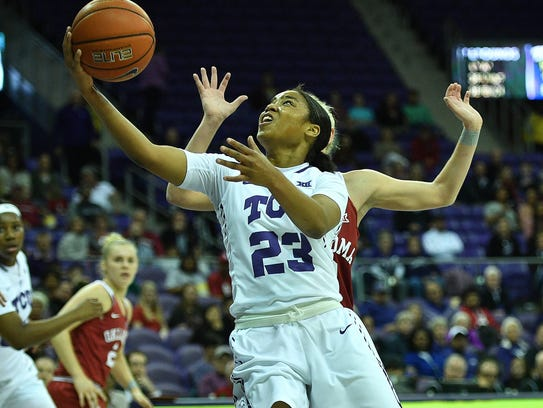 AJ Alix makes a layup during TCU's 73-64 loss to Oklahoma