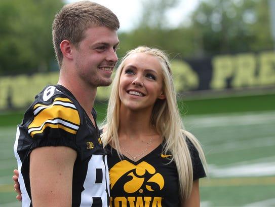 Iowa wide receiver Matt VandeBerg and his wife, Laura,