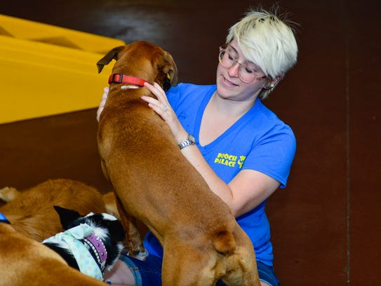Erin Miller plays with the guests at Pooch Palace,