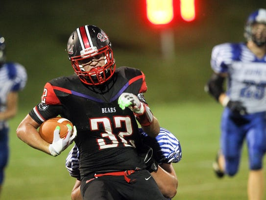 West Branch's Tanner Lukavsky runs down field during