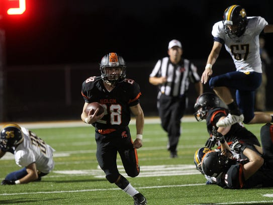 Solon's Hunter Kula runs down field during the Spartans'