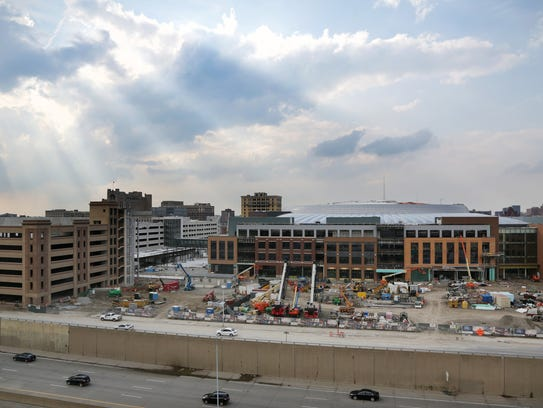 Little Caesars Arena in Detroit takes shape July 11.