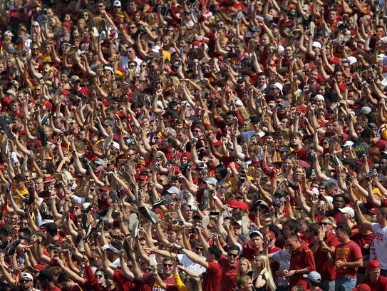 Fans cheer at Jack Trice Stadium in Ames on Saturday,