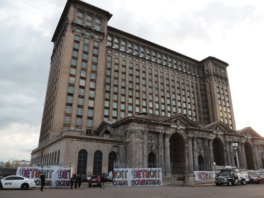 A view of the exterior of Michigan Central Station in Detroit is seen in September 2017 during Crain's Detroit Homecoming IV event.
