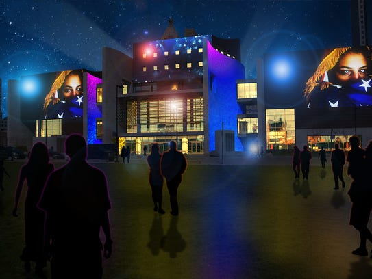 A rendering of Blink projections at the Freedom Center.