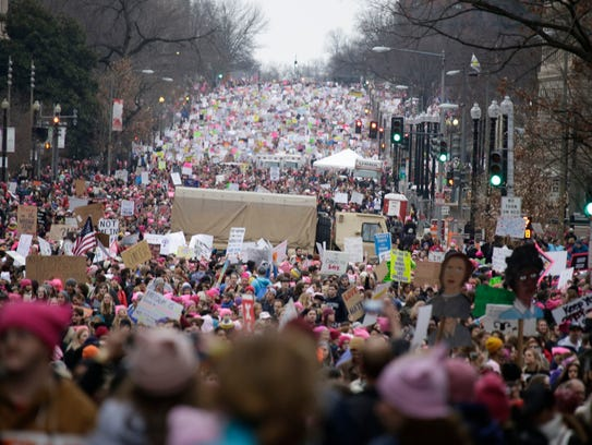 Marchers pack 14th Street in Washington, D.C., during the Women's March earlier this year.