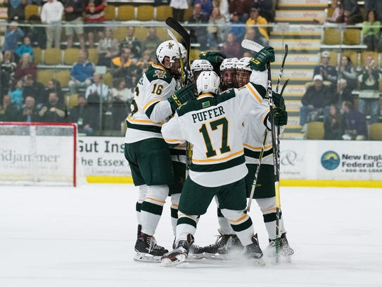The Catamounts celebrate a goal during the men's hockey
