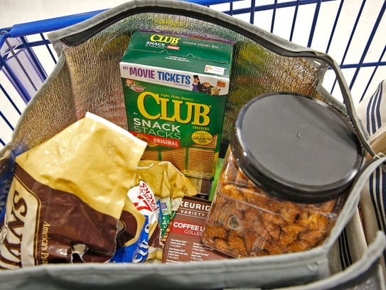 Groceries are gathered by a Shipt shopper in Indianapolis,