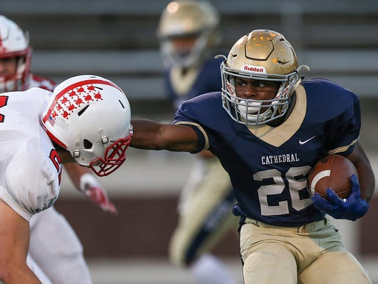 Cathedral Fighting Irish running back Chon'Dre Cissell