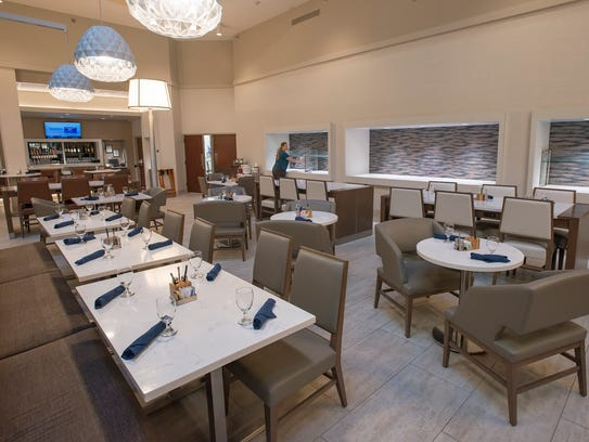 The renovated dining area at the Hilton Fort Collins has less seating and offers more local fare.