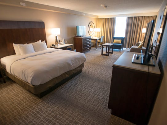 The renovated King Deluxe Mountain View suite at the Hilton Fort Collins is pictured.