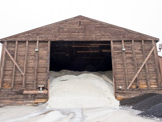 The salt barn at the St. Clair County Road Commission