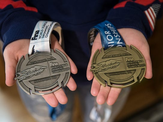 The medals Emily Weiss earned at the FINA world junior