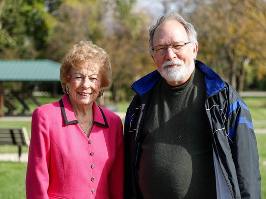 Jeanne Stine, 88, former mayor of Troy, left, and Brain