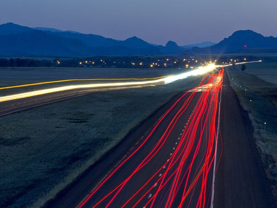 A long exposure time records lights from traffic on