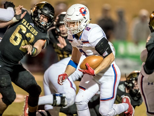 Chase Gilmore finds a hole Friday against Bushland.
