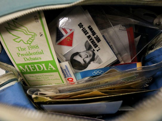 Tom Brokaw's press credentials are pictured at the