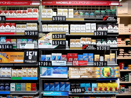 Packs of cigarettes for sale at Pat's Cigs in Keizer