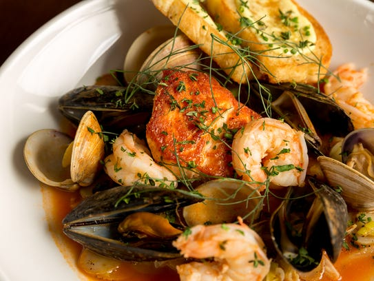Salmon bouillabaisse comes with perfectly cooked seafood
