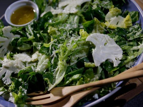 Test kitchen salad featuring thinly shaved cauliflower