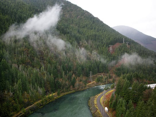 Water flows along the North Santiam Canyon after passing
