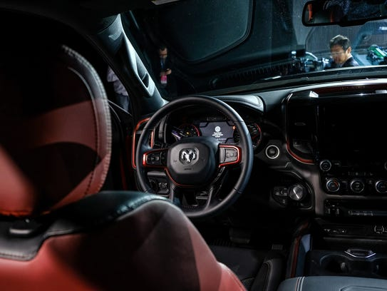 The interior of the 2019 Ram 1500 Rebel is seen at