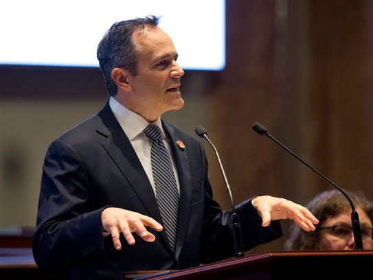 Kentucky Governor Matt Bevin speaks during a joint
