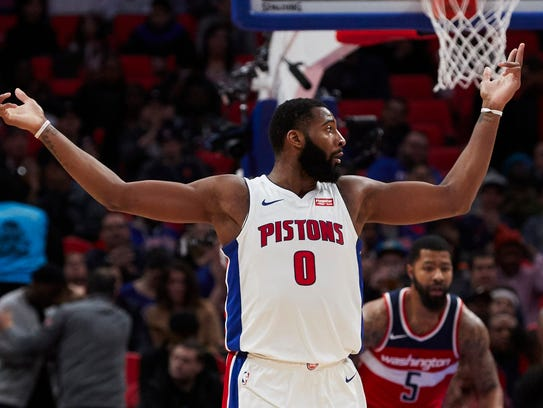 Andre Drummond fires up the crowd in the first half against the Wizards on Friday at Little Caesars Arena.