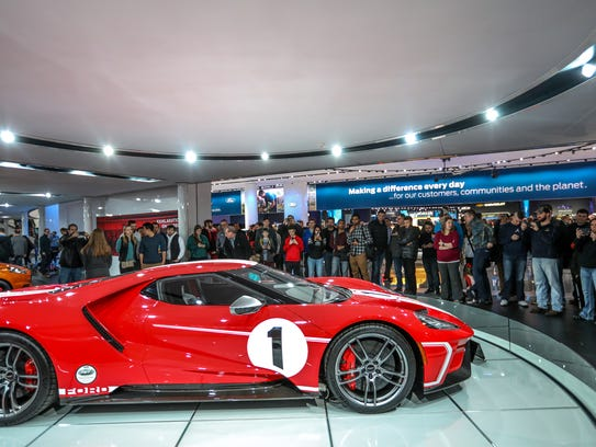 The Ford GT is a big attraction during the first public day of the North American International Auto Show in downtown Detroit on Saturday, Jan. 20, 2018.