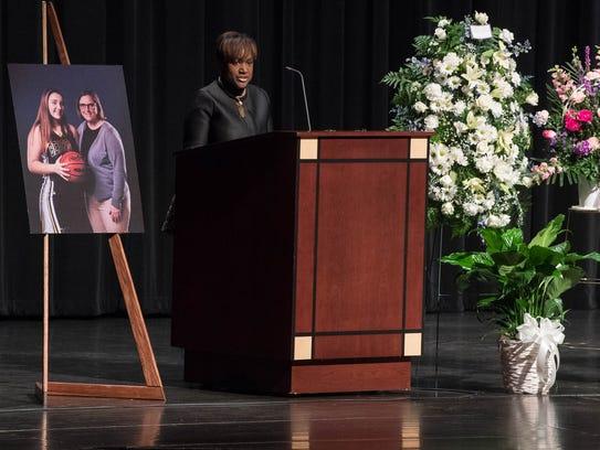 Battle Creek Superintendent Kim Carter speaks at W.K.