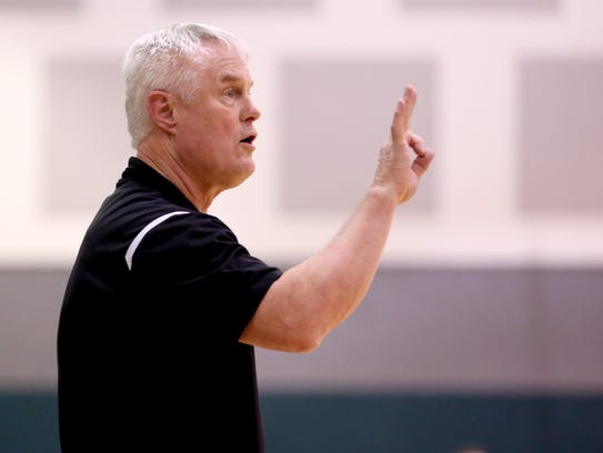 Western Mennonite head coach Gary Hull calls out to
