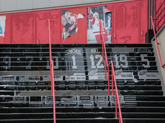 The steps to the Gordie Howe entrance of the Joe Louis Arena  in downtown Detroit in February 2018.